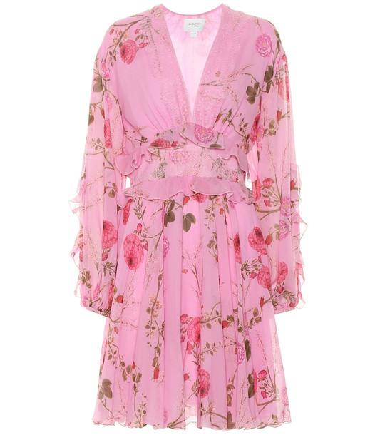 Giambattista Valli Lace-trimmed silk minidress in pink