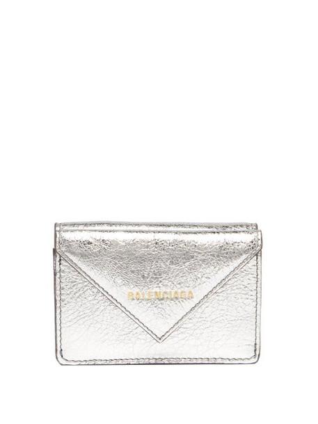 Balenciaga - Papier Metallic Leather Purse - Womens - Silver
