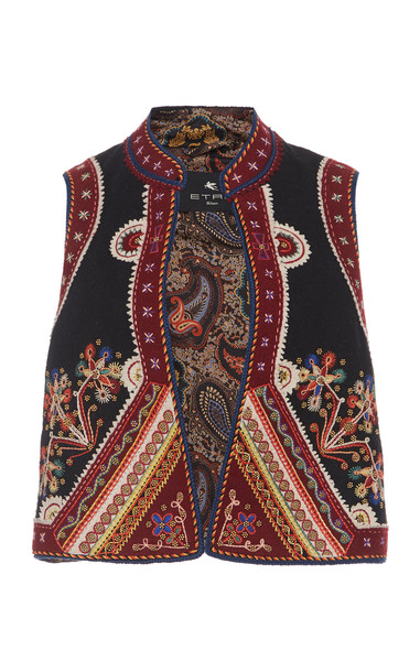 Etro Embroidered Crepe Vest in print