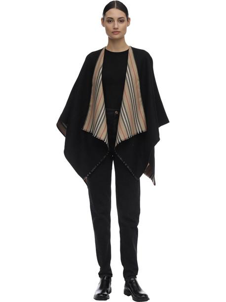 BURBERRY Reversible Heritage Wool Scarf in black