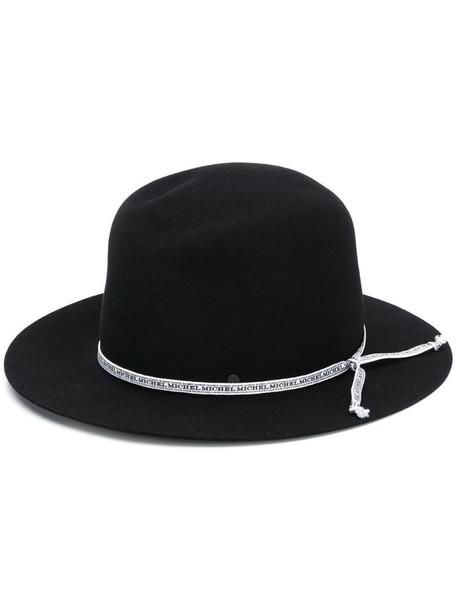 Maison Michel André ribbon logo hat in black