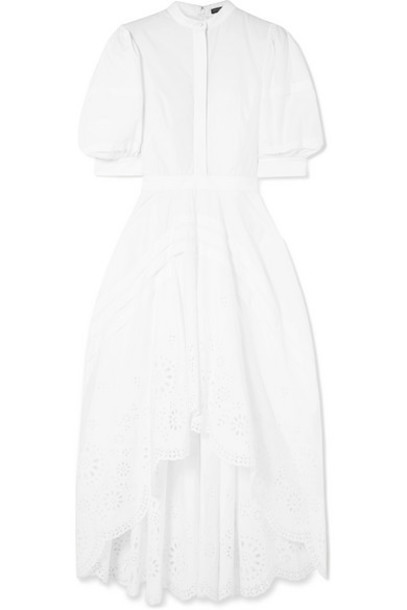 Alexander McQueen - Asymmetric Pleated Broderie Anglaise Poplin Dress - White