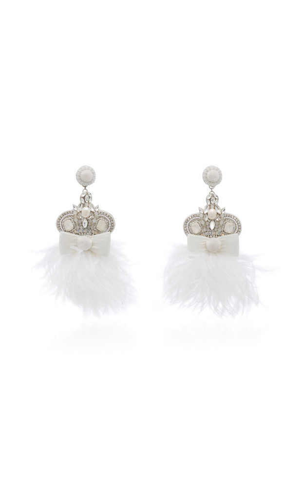 Ranjana Khan White Bow and Feather Earrings in pink
