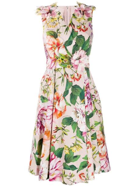 Dolce & Gabbana floral print midi dress in pink