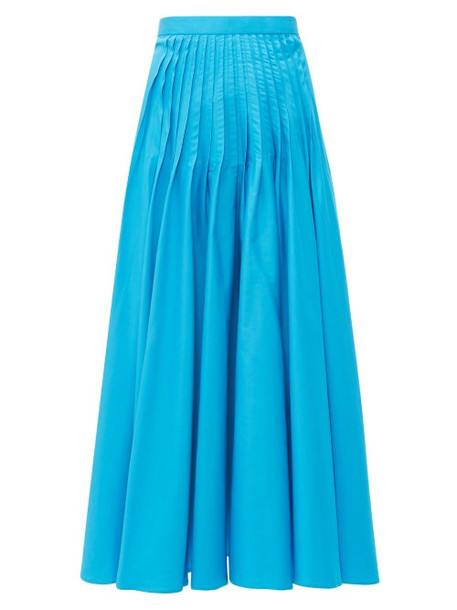 Roksanda - Ambra Pintuck Pleat Cotton Poplin Midi Skirt - Womens - Blue