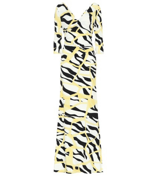 Roberto Cavalli Printed stretch jersey gown in yellow