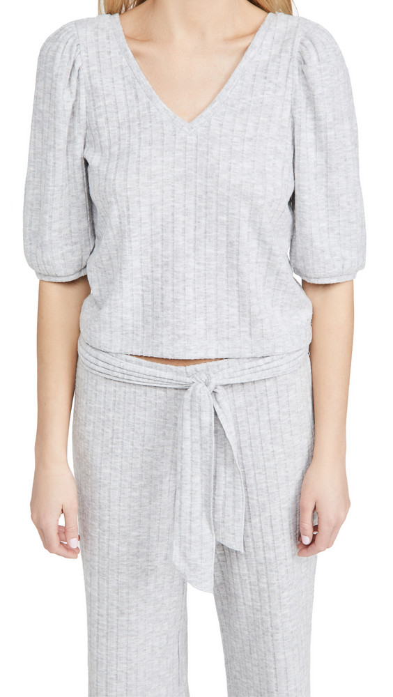 Chaser Puff Sleeve Rib Top in grey