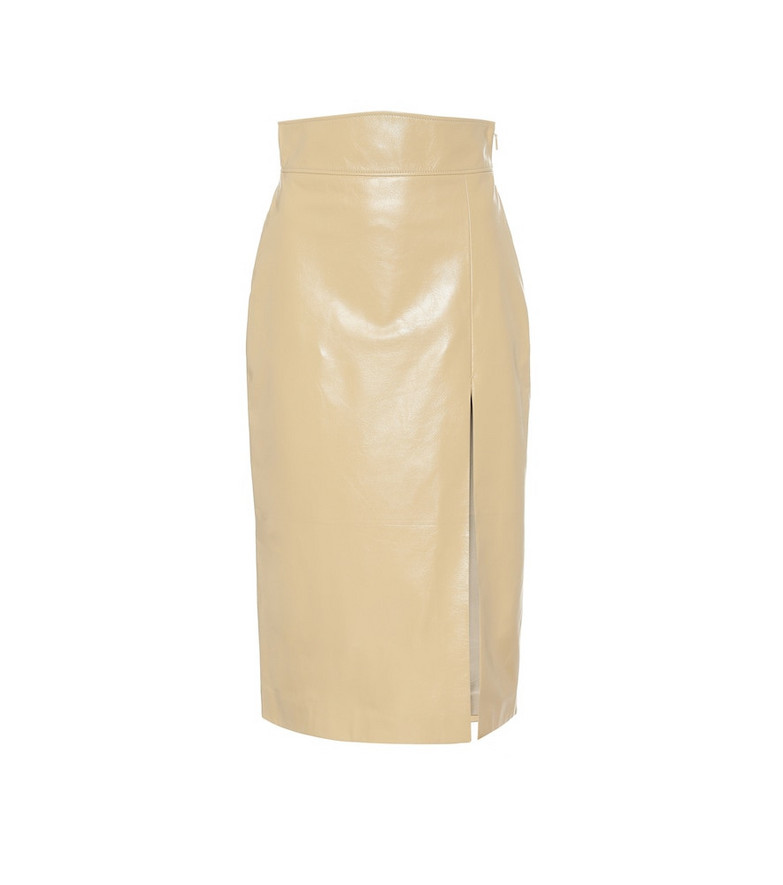 Gucci High-rise leather midi skirt in beige