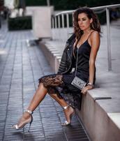 fashionedchic,blogger,bag,black dress,dress,cami dress,high heel sandals,leather jacket