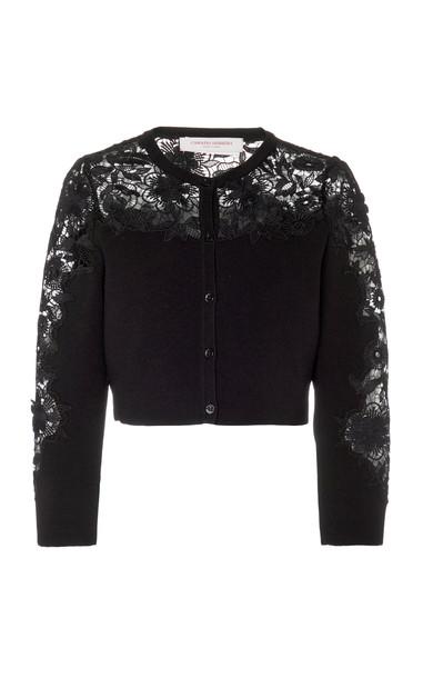 Carolina Herrera Guipure Lace Cropped Cardigan Size: XS in black