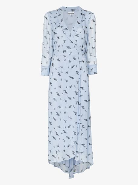 GANNI floral print wrap midi dress
