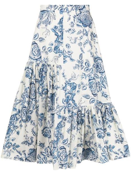 Erdem Gaura floral-print midi skirt in blue