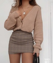 sweater,brown,beige,beige sweater,button up,v neck,deep v,long sleeves,knitted sweater
