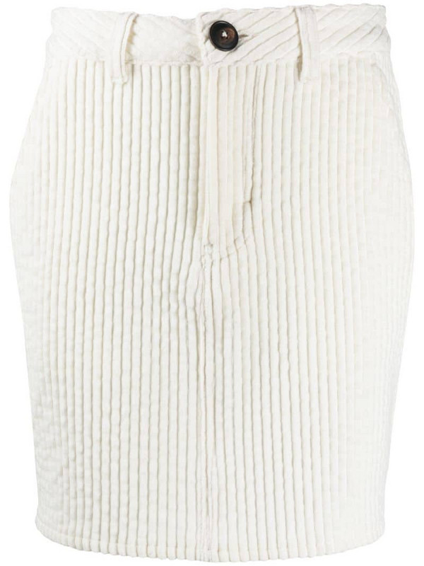 AMI Paris corduroy fitted mini skirt in neutrals