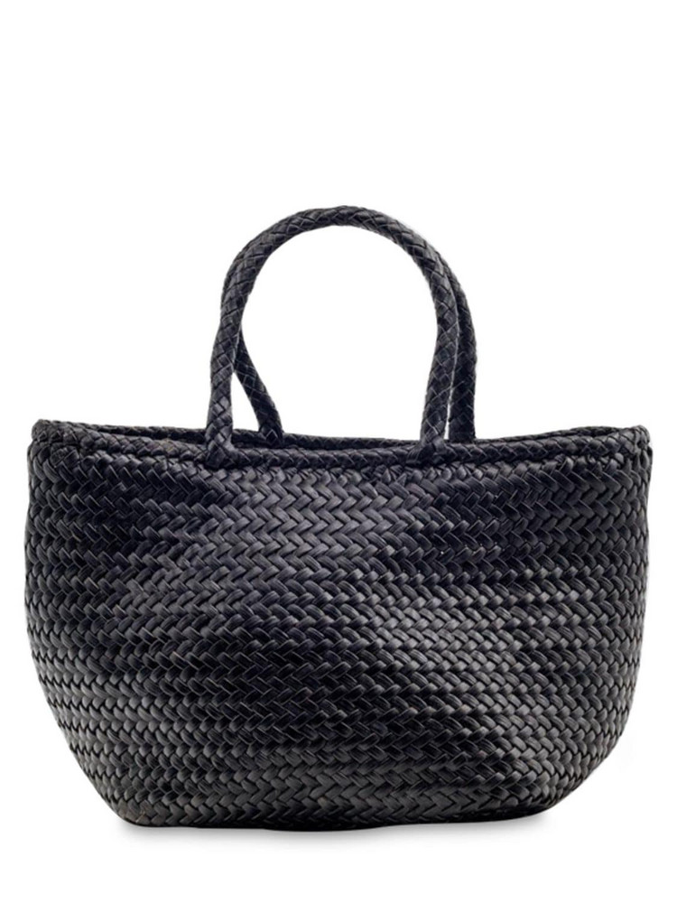 DRAGON DIFFUSION Grace Small Woven Leather Basket Bag in black