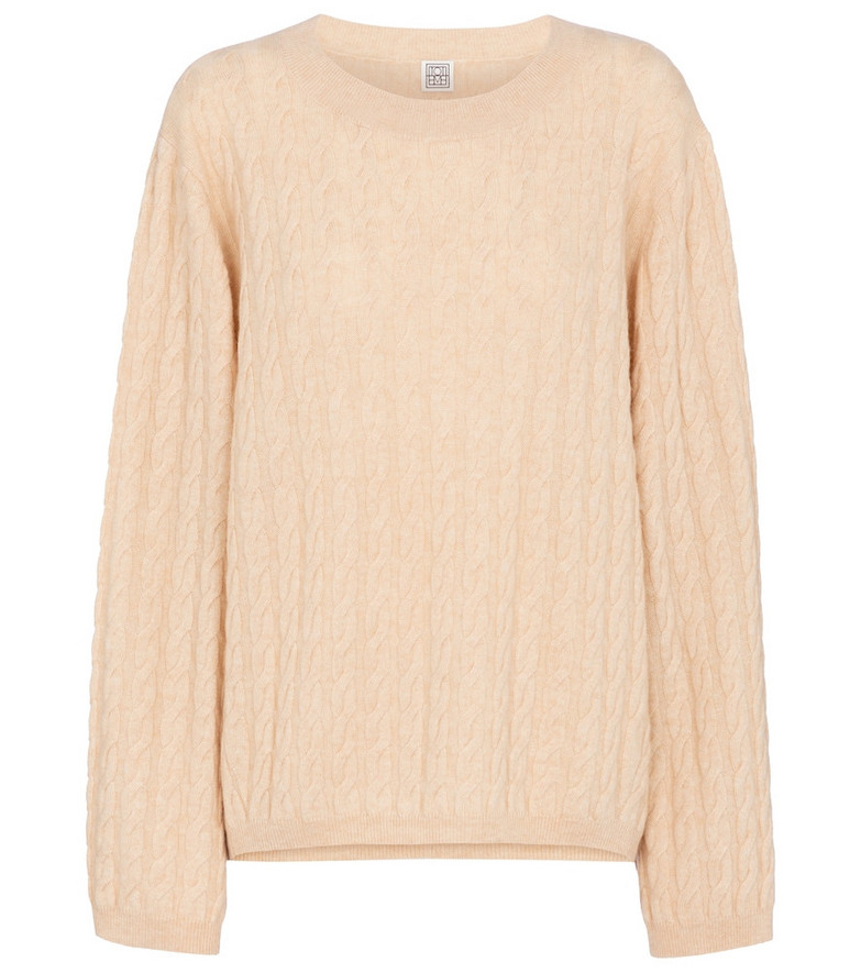 Toteme Cable-knit cashmere sweater in beige