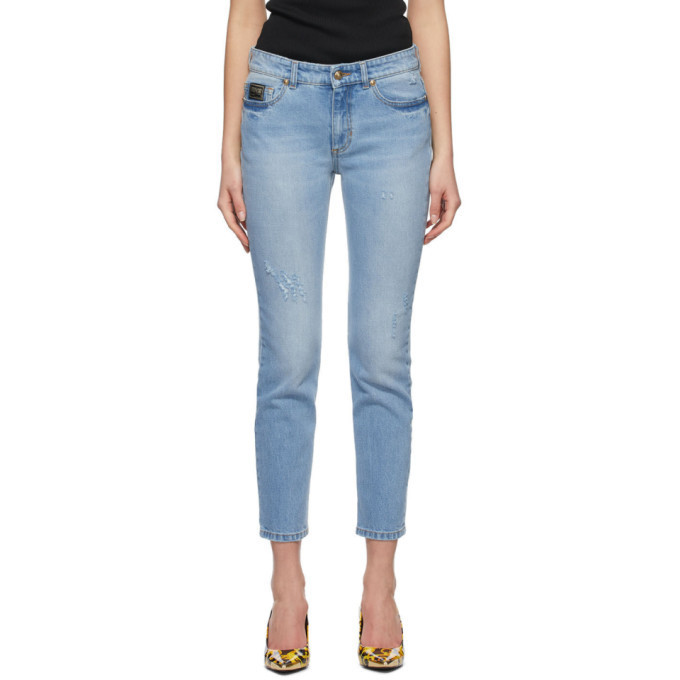 Versace Jeans Couture Blue Faded Slim Jeans in indigo