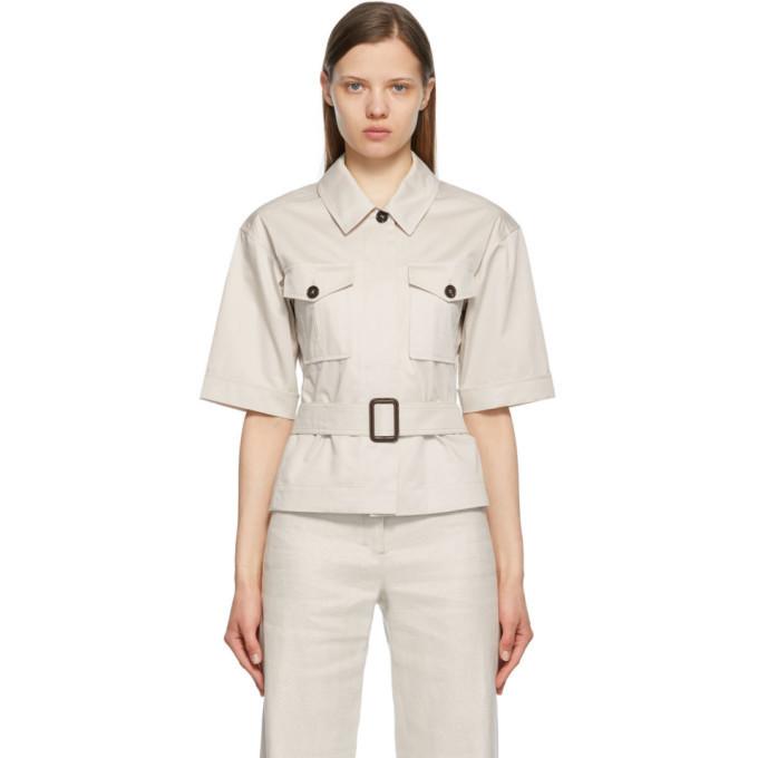S Max Mara Beige Rea Belted Shirt in ecru