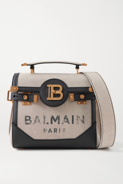 Balmain - B-buzz 23 Textured Leather-trimmed Printed Canvas Shoulder Bag - Beige