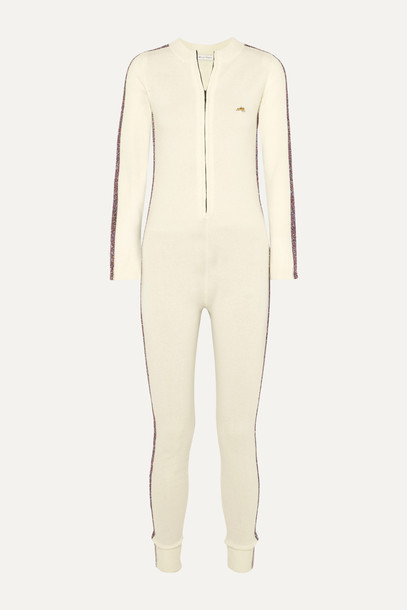 BELLA FREUD - Futuristic Metallic Striped Merino Wool-blend Jumpsuit - White