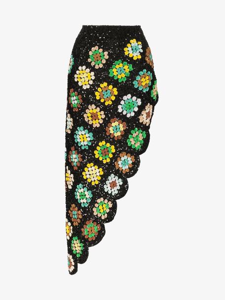 Ashish patchwork crochet asymmetric skirt