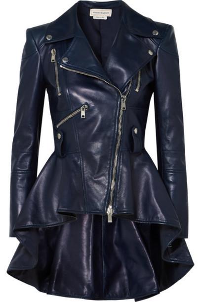 Alexander McQueen - Leather Peplum Biker Jacket - Navy
