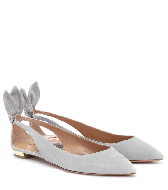 Aquazzura Deneuve suede ballet flats in grey