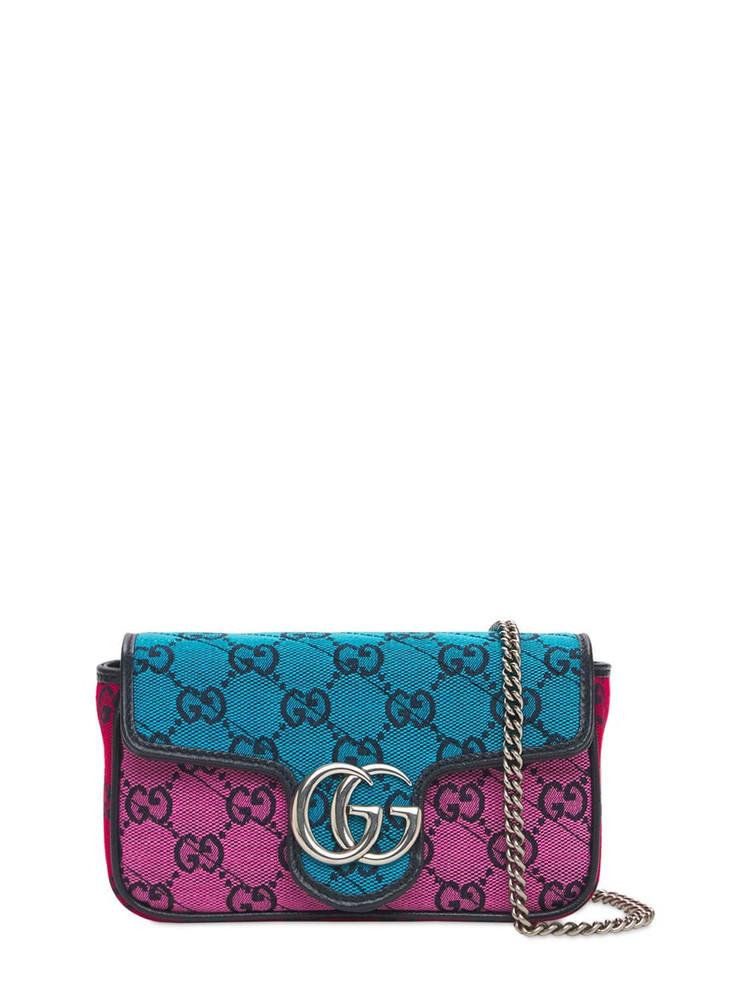 GUCCI Mini Gg Marmont Multicolor Canvas Bag in blue / pink