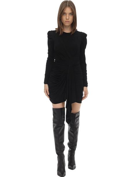 ISABEL MARANT Tonia Draped Stretch Jersey Mini Dress in black