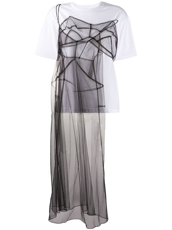 Quetsche sheer tulle panel T-shirt in white