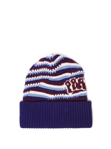 Prada - Logo Jacquard Knitted Cashmere Beanie Hat - Womens - Blue
