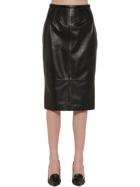 ROCHAS Leather Pencil Skirt in black