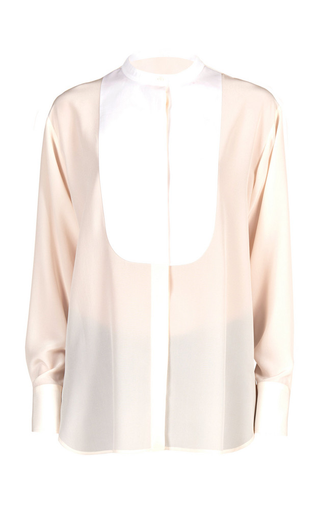 Stella McCartney Leann Paneled Silk-Satin Shirt in white