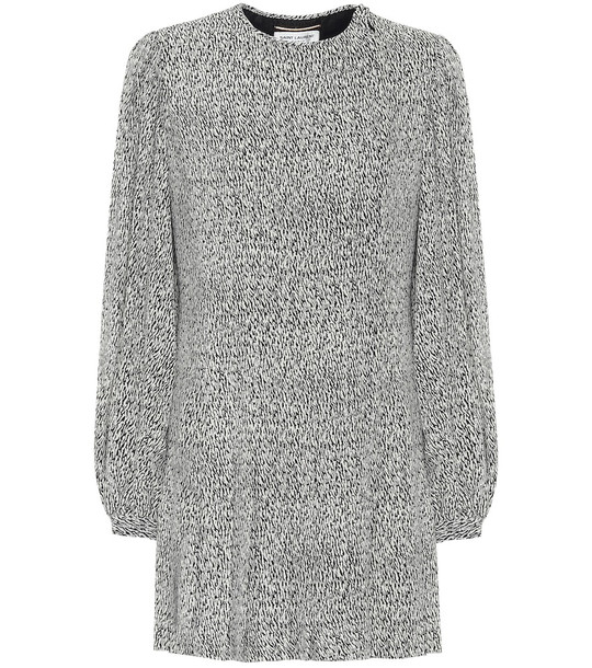 Saint Laurent Printed crêpe dress in grey