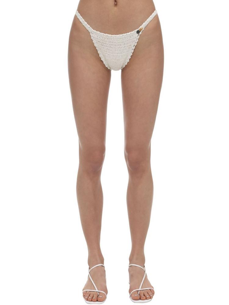 SHE MADE ME Petite Crochet Bikini Bottoms in white
