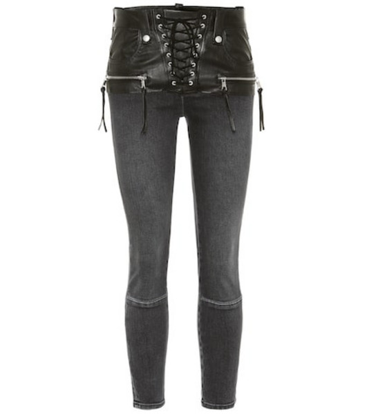 Unravel Leather-trimmed jeans in black
