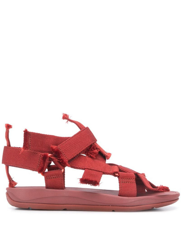 CamperLab Match frayed strap sandals in red