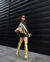 shoes,over the knee boots,jimmy choo,black skirt,black jacket,fringes