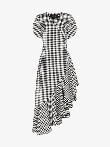 Paper London Colorados gingham ruffle cotton blend dress in black / white
