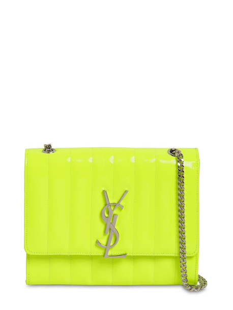 SAINT LAURENT Viki Quilted Leather Chain Wallet Bag in yellow