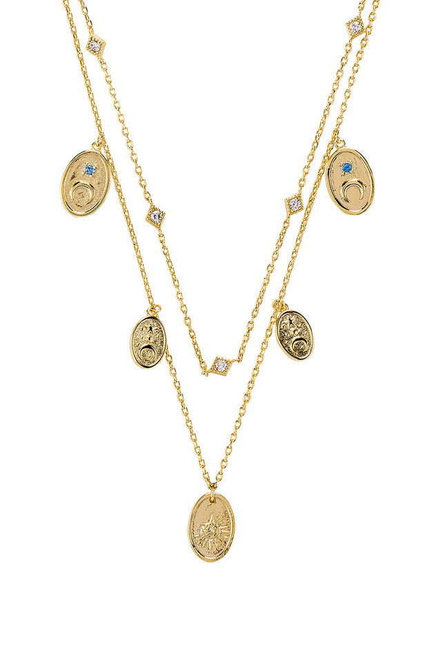 Wanderlust + Co Reverie Charms Necklace in gold / metallic