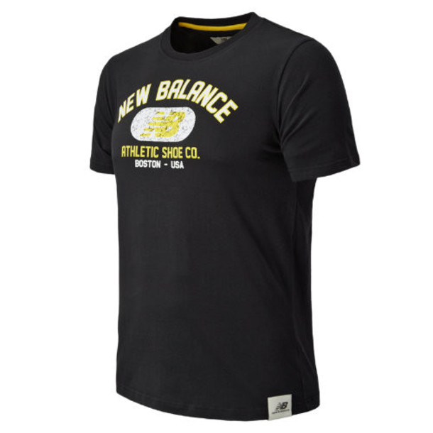 New Balance 4391 Men's Collegiate Arch Logo Tee - Blue Graphite, Yellow, White (EMET4391BGH)