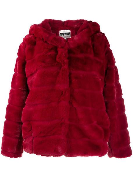 Apparis Goldie short faux-fur jacket in red