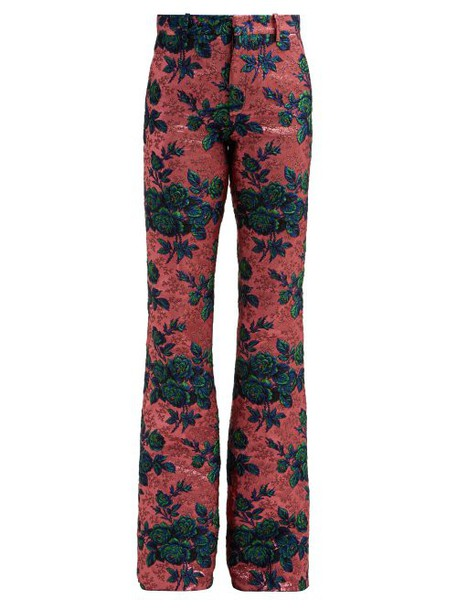 Gucci - Floral Metallic Brocade Kick Flare Trousers - Womens - Pink Multi