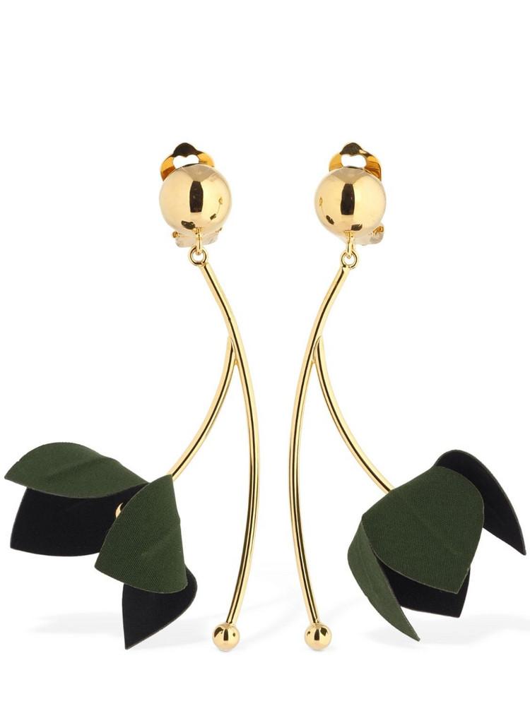 MARNI Bicolor Flora Clip-on Pendant Earrings in blue / green