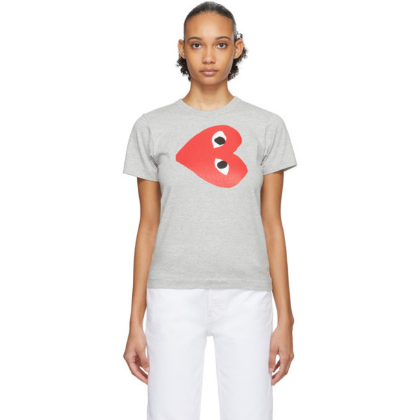 Comme des Garcons Play Grey Sideways Heart T-Shirt