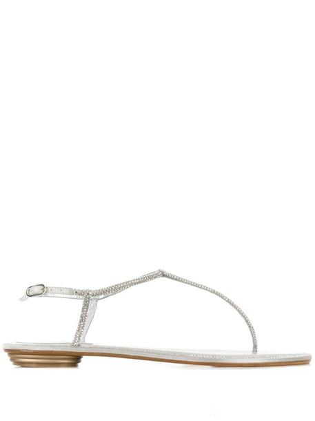 René Caovilla embellished flat sandals in silver