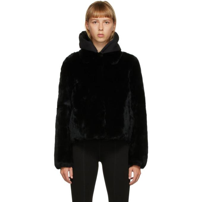Yves Salomon - Meteo Black Fur Crop Jacket in noir