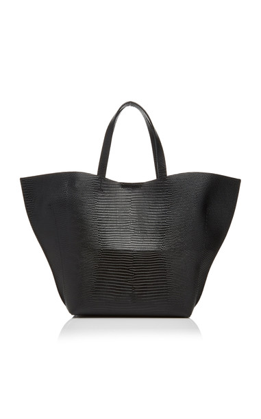 IMAGO-A Lizard Embossed Leather Shell Tote in black