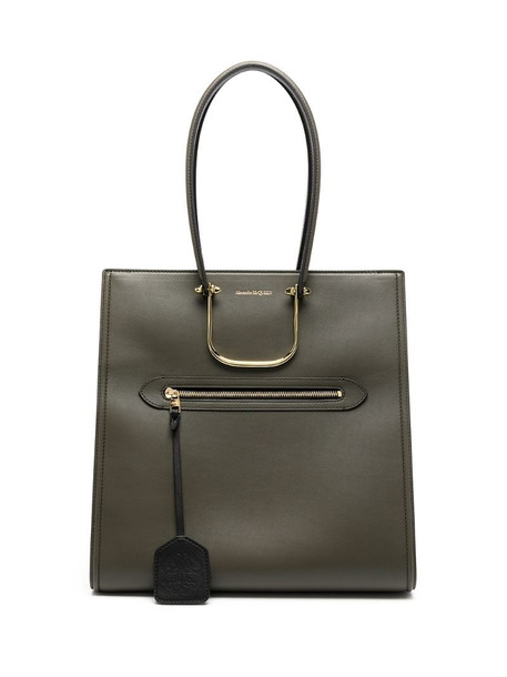 McQ Swallow The Tall Story leather tote bag in green